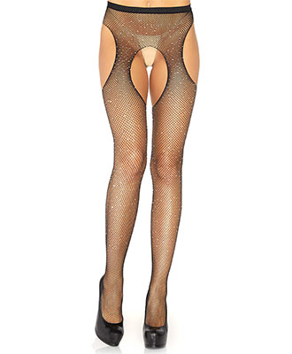 Leg Avenue - Crystalized Fishnet Suspender Strømper