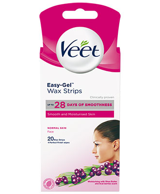Veet Easy-Gel Wax Strips Normal Skin Face (20 stk)