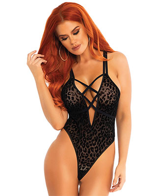 Leg Avenue - Velvet Leopard Sheer G-String Teddy