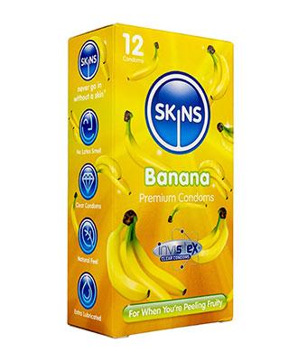 Skins Banan Kondomer - 12 stk