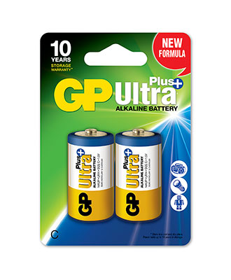 GP Ultra Plus C-batteri, 2-pakk