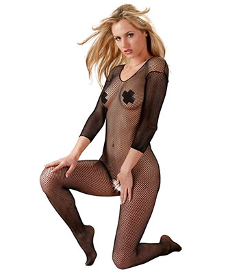 Fishnet Catsuit - Heldekkende - Sort