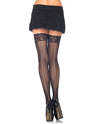 Leg Avenue - Stay Up Micro Net Thigh High Strømper