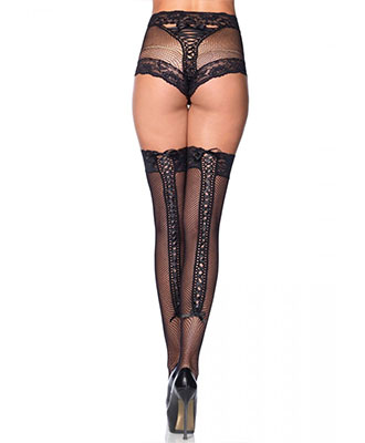Leg Avenue - Fishnet Panty With Corset Lace