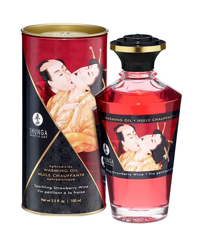 Shunga Aphrodisiac Warming Oil Sparkling Strawberry Wine Massasjeoljer og -lys